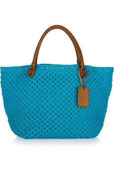Ralph Lauren Crocheted rope and leather tote