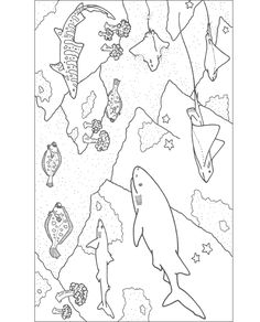 Blue Shark free printable coloring page animal mosaics