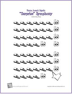 Surprise Symphony | Free Printable Listening Map - not sure I like the eyeballs . . . makes me think something different should happen there. . . I'd modify this a bit - but a good activity for lots of different objectives in primary.