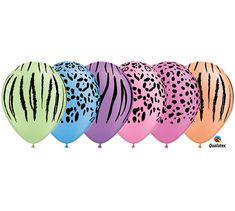 7ct NEON SAFARI 11 Latex Balloons Zebra Jungle by KidzPartyShoppe
