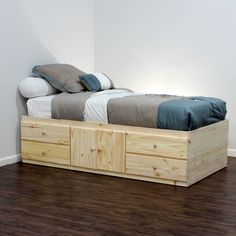 Extra Long Twin Storage Bed Pine Wood In 2019 Ideas Pinterest