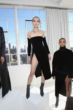 NEW YORK, NY - FEBRUARY 14: Models pose at SheaMoisture at Laquan Smith F/W 2016 NYFW presentation at Jack Studios on February 14, 2016 in New York City. (Photo by Bennett Raglin/Getty Images for SheaMoisture)