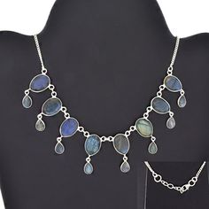 DROP DESIGN 925 STERLING SILVER NECKLACE FOR WOMEN'S IN LABRADORITE STONE #SilvexImagesIndiaPvtLtd #Necklace