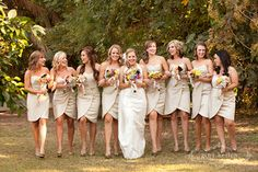 Wrap dresses are such a unique option for weddings like these tan wrap bridesmaid dresses for a summer ceremony. | Venue at the Grove in Phoenix, AZ