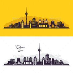 Tehran Iran city skyline silhouette. Vector illustration