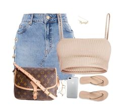 A fashion look from October 2017 featuring Topshop mini skirts, Aéropostale flip flops and Louis Vuitton shoulder bags. Browse and shop related looks. Teen Fashion Outfits, Dope Outfits, Swag Outfits, Look Fashion, Chic Outfits, Trendy Outfits, Summer Outfits, Girl Outfits, Womens Fashion