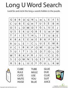 First Grade Phonics Worksheets: Long 'U' Word Search The Words, Long U Words, Sound Words, Phonics Books, Teaching Phonics, Phonics Worksheets, Writing Worksheets, Long Vowel Worksheets, Homeschool Worksheets