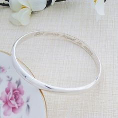Ladies Solid Silver Engraved Bangle featuring a Romantic Message