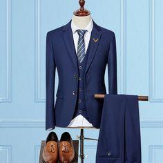 2017 Men 3 Piece Suit Royal Blue Jacket +Vest+Pants Formal Dress Mens Business Suits High Quality Slim Fit Grooms Wedding Suit