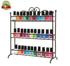 3 Tier Nail Polish Metal Rack Table Top Organizer Display Storage Small Bottles Black Store your bottles of nail polish and makeup in style with this amazing 3 Tier Nail Polish Display rack! The lovely scrollwork design and classic painted finish on this sturdy metal storage rack helps bring both eye-catching style and sensible storage to your home or salon, and the 3 tiers (each with a metal railing) allow you to store your nail polish and makeup while also keeping them beautifully…