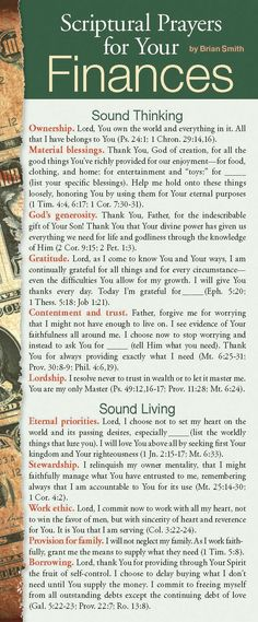 Looking for sound, Scripture-based prayers to pray in regard to your finances? This card contains personal and passionate prayers related to sound thinking, living, giving, and investing.<br /><br />Encourage the church to pray, help those who are new in faith develop their prayer life, and revitalize ministries with large prayer cards! Prayer card guides provide biblically based areas of prayer for specific needs or groups of people. Printed on both the front and back s...