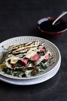 Steak, Spinach and Mushroom Crepes with Balsamic Glaze