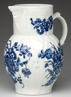 CAUGHLEY PORCELAIN CABBAGE LEAF-MOLDED MASK JUG : 1770-1790