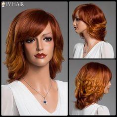 Stunning Medium Side Bang Layered Fluffy Siv Real Natural Hair Wig