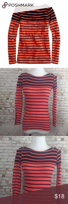 "J.Crew painter boat neck Tee striped Boat neck. Gold snaps on each shoulder. Long sleeve. Orange and blue striped. 100% Cotton. Bust 28"". Waist 26"". Length 23"". J. Crew Tops Tees - Long Sleeve"