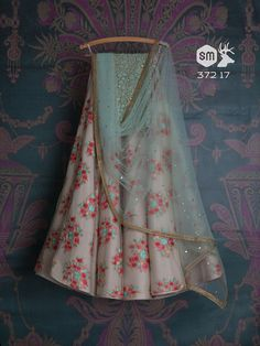 Grey and light blue floral lehenga