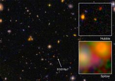 A team of Caltech researchers that has spent years searching for the earliest objects in the universe now reports the detection of what may be the most distant galaxy ever found. Galaxy as seen by the Hubble Space Telescope and Spitzer Space Telescope. Cosmos, Spitzer Space Telescope, Astrophysics, To Infinity And Beyond, Deep Space, Space Exploration, Outer Space, Science Nature, A Team