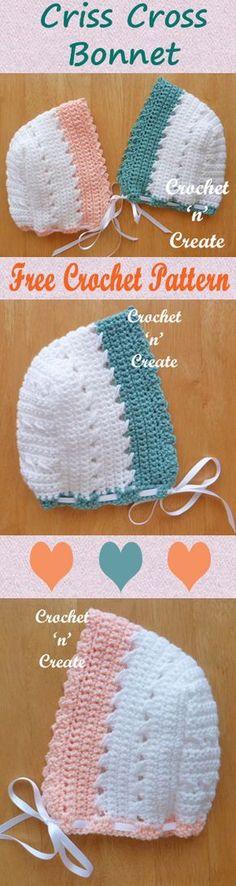 Baby criss cross bonnet, free baby crochet pattern. #crochet
