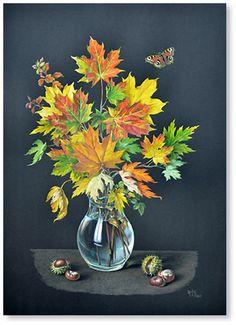 "Golden autumn  watercolor 27.6""x19.7"", 2012; 300$"