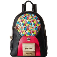 Betsey Johnson Bubble Gum Backpack (Black/Multi) Backpack Bags ($138) ❤ liked on Polyvore featuring bags, backpacks, betsey johnson backpack, strap backpack, hardware bag, knapsack bag and zipper bag