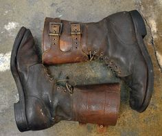 Vintage 1940's US Army Brown Leather Double Buckle Combat Boots