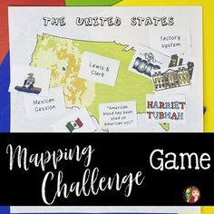 Reviewing for your end of the year test in U.S. History? Use a game to check for student understanding and reinforce key content with this mapping challenge.In this resource, students are challenged to place cards representing different aspects of U.S. History on a map. This resource includes differ... Teaching Us History, Teaching Geography, History Education, Social Studies Activities, Teaching Social Studies, Teacher Resources, Teaching Ideas, Map Games, Teaching Secondary