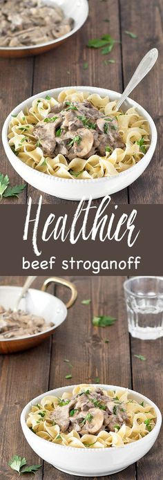 This healthier beef stroganoff takes just 30 minutes to make. It uses no butter or sour cream and it's just as tasty as the full fat version. #beef #stroganoff #healthy #recipe