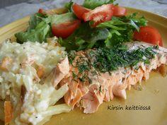 Lohta peruna-kasvispedillä Cobb Salad, Meat, Chicken, Food, Essen, Meals, Yemek, Eten, Cubs
