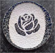 Mozaïek en meer!! :: Onderwerp bekijken - Blauwe schaal met transparante roos