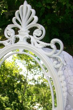 Large Vintage Mirror, Syroco Wall Mirror, Ornate Mirror, Oval Mirror, White Mirror, Nursery, Wedding, Hollywood Regency Decor