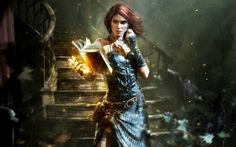 The Witcher, Triss Merigold, artwork, books, fantasy art, paintings, stairways, witches,