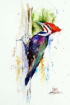 PILEATED WOODPECKER Watercolor Print by Dean by DeanCrouserArt