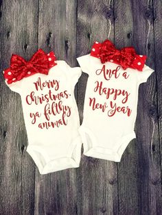 Twin Christmas Outfits for Baby Girls, Home Alone Bodysuits, Merry Christmas Ya…