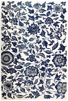 "Pattern from a blue and white China bottle, from 'Examples of Chinese Ornament', by Owen Jones, London, 1867. ""This composition is a fine example of conventional representation of natural flowers; but for the peculiar character of the termination of some of the leaves, it would pass for Indian or Persian."""