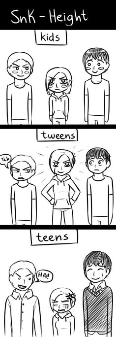 SnK Height: Kids, Tweens, and Teens [Humor] #bertholdt #annie #reiner
