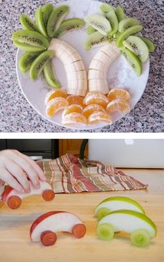 Love both of these ideas. Kiwi, Banana and orange for palm tree island and apples, toothpicks and grapes for some car racing food fun!
