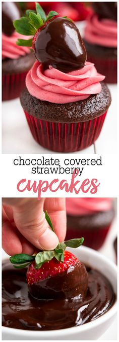 Chocolate Covered Strawberry Cupcakes - A perfectly moist chocolate cupcake made from scratch, topped with a homemade strawberry frosting and a strawberry covered with chocolate ganache! Mini Desserts, Chocolate Strawberry Desserts, Strawberry Frosting, Chocolate Dipped Strawberries, Strawberry Dip, Strawberry Cupcakes, Chocolate Cupcakes, Chocolate Ganache, No Bake Desserts