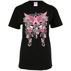 89d50f47c4e4a Support Admire Honor Winged Pink Ribbon T-Shirt   The Animal Rescue Site Breast  Cancer