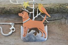 Beagle puppy dog sterling silver pendant necklace by Macalania