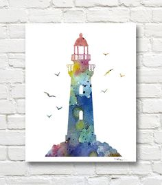Lighthouse Watercolor Art Print - Abstract Painting - Wall Décor    This is a professional quality giclee print from my original hand painted