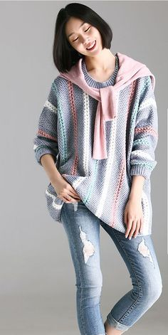 518b9acc60 Casual Striped Warm Sweater Women Loose Tops For Fall And Winter M6690