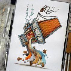 """Container Madness : when everything go wrong"" [commission / Sold] #copic #copicart #copicmarkers #container #containers #containership #cargoship #gantrycranes #cartoon #rogerrabbit #characterdesign #hatemondays #vdm #viedemerde #bestdrawing #topdrawer #bestdrawer #streetart #mcdonalds #funnyart #Regram via @tino_copic"