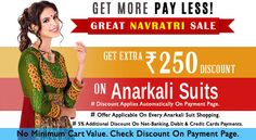 #SALERATRI: Get Rs. 250 Extra OFF On Every #AnarkaliSuit Shopping. Online Discount For Prepaid Users! Buy Now:- http://www.shoppers99.com/anarkali_suits