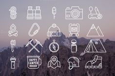 20 Mountain Explorer & Travel Icons by JeksonGraphics on @creativemarket