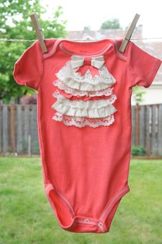 Ruffled Lace Collar Baby Girl Onesie