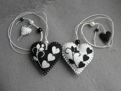 Felt bookmark black white  heart /Perfect for by Marywool on Etsy, $11.00