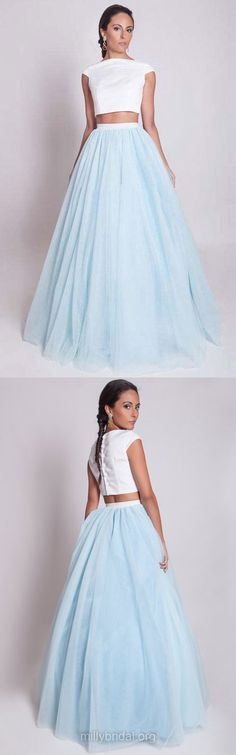 Two Piece Prom Dresses,Simple Princess Formal Dresses,Light Sky Blue Evening Dresses,Scoop Neck Satin Tulle Ruffles Long Party Dress