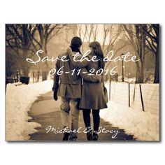 Simple Script Photo Wedding Save the Date Postcard #wedding #ido #savethedate