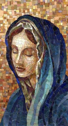 Foto Does anyone know the history of this beautiful mosaic art? Blessed Mother Mary, Blessed Virgin Mary, Virgin Mary Art, Catholic Art, Religious Art, Croix Christ, Madona, Mosaic Portrait, Images Of Mary