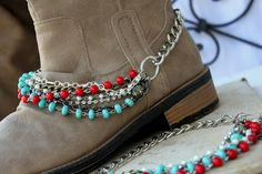 Boot Bracelets! Jewels for your Boots, layers of gemstones, pearls, turquoise, coral, rhinestone and more!